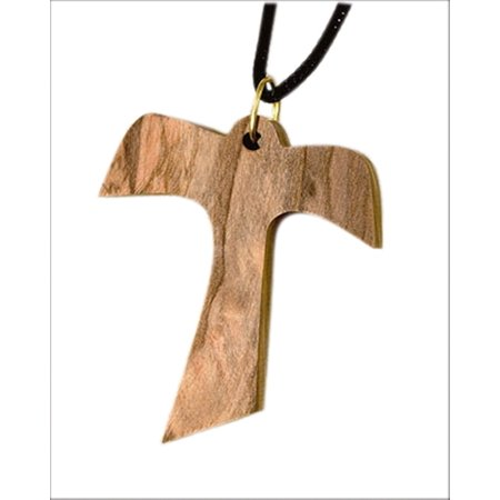 Olive Wood Franciscan Tau Cross Pendant on Rope Chain, 1 1/2 Inch