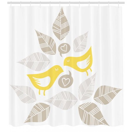 Bird Shower Curtain Abstract Modern Art Deco Design Inspired Birds And Leaves Illustration Fabric Bathroom Set With Hooks Warm Taupe Yellow White