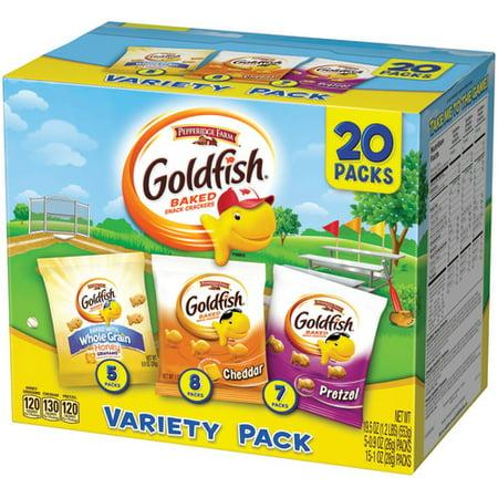 Pepperidge Farm Goldfish Sweet & Savory Crackers, 19.5 oz. Variety Pack Box, 20-count Snack Packs - Top 20 Halloween Snacks