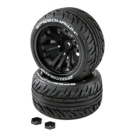 Duratrax SpeedTreads Speedhawk Tires Mounted (2): 1/10 Stadium/Monster Truck, DTXC2900 ()