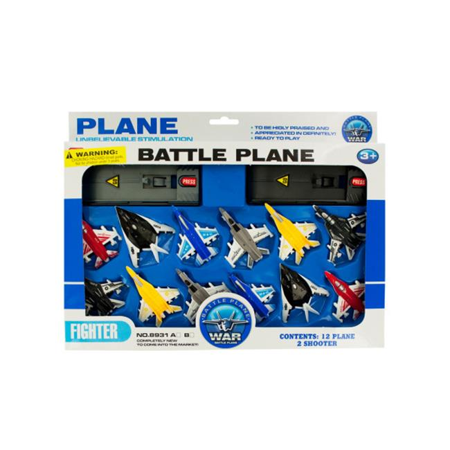 Bulk Buys OF634-16 Toy Jet Fighter Planes with Launch Pads Set, 16