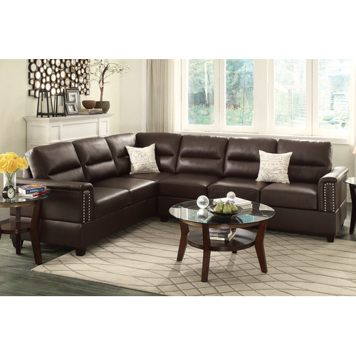 Bobkona Parrish Bonded Leather Left or Right Hand Reversible Sectional, Espresso by Poundex