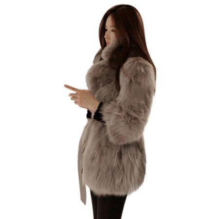 Fox Fur - EFINNY Women Winter Warm Faux Fox Fur Coat