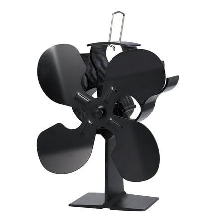 ESYNIC Black Eco Friendly 4 Blade Stove Fan Heat Powered Log Wood Burner Top Fan (Wood Stove Fan Switch)