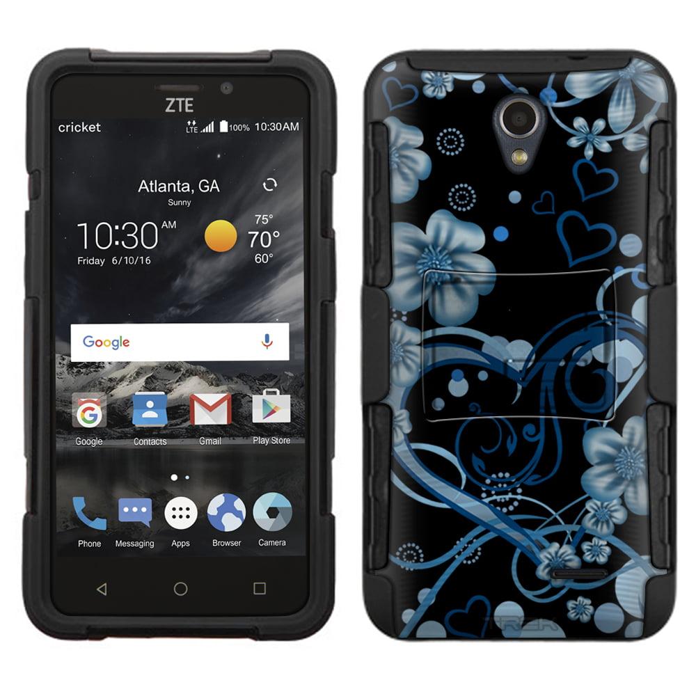 ZTE Sonata 3 Armor Hybrid Case - Sketch Hearts Blue on Black