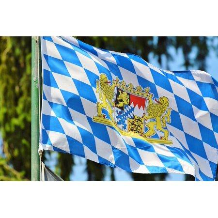 Canvas Print Bavaria Flag Bayern Flag Blow Bavaria Flag Flutter Stretched  Canvas 10 x 14