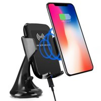 TSV Qi Wireless Charging 2-in-1 Air Vent Car Mount Charger for iPhone 11/11 Pro X 8 8 plus Samsung Galaxy S8 S8Plus Note 8 S6 S7Edge LG G2 & Qi Enabled Devices