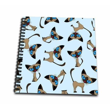 3dRose Siamese Cat Print Blue - Mini Notepad, 4 by 4-inch