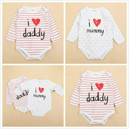 Newborn Baby Girls Cotton Rompers Playsuit Bodysuit Outfits Clothes Set 1T 0-12M