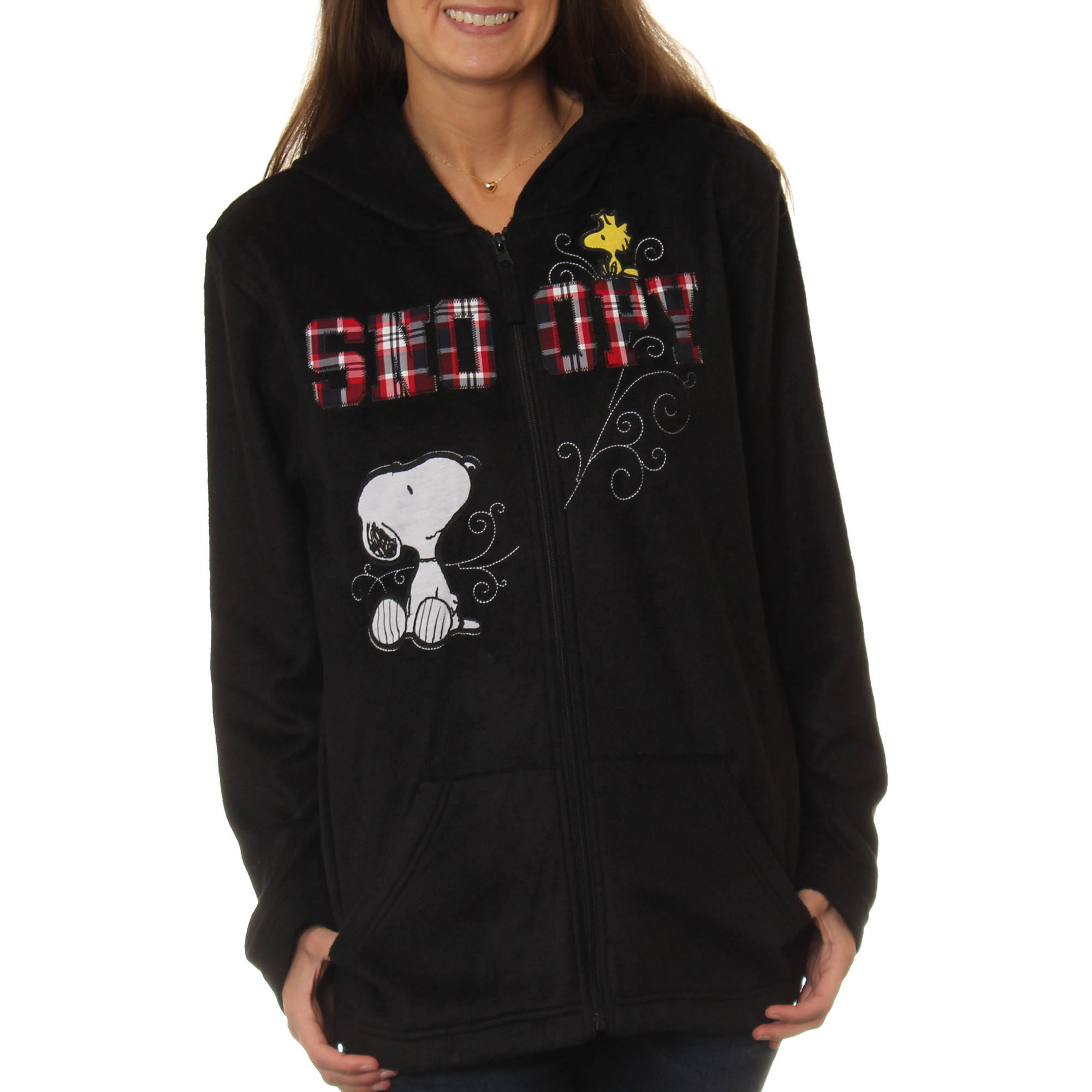 Peanuts Women's Snoopy Plush Fleece Full Zip Hoodie