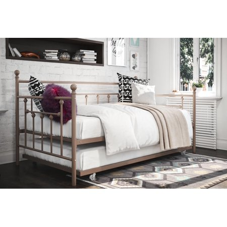 Woven Daybed - DHP Manila Twin Metal Daybed with Trundle, Multiple Colors, Multiple Sizes