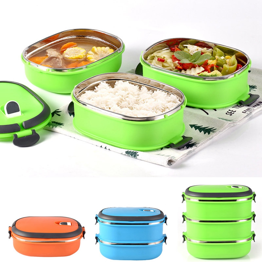 Details about  /Stainless Steel 3-Layers Thermal Insulated Lunch Boxes Bento Food Container