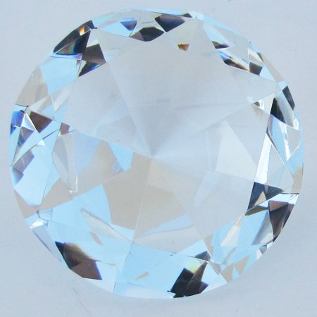 Big 100 mm Clear Cut Glass Faceted Crystal Giant Diamond Jewel Paperweight 100mm Round Faceted Crystal Paperweight