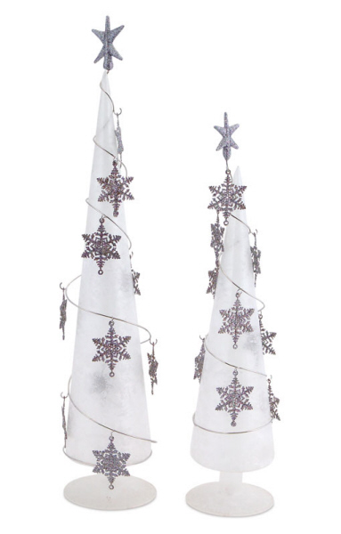 set of 2 clear frosted glass table top christmas trees with snowflake ornaments