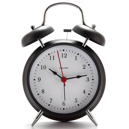 "4"" Retro Metal Twin Bell Alarm Clock Quartz Movement Night Light Battery - image 4 de 6"