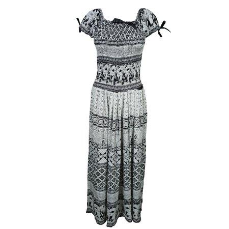 (Mogul Womens Boho Maxi Dress On Off Shoulder Smocked Waist Rayon Gypsy Beach Summer Dresses)