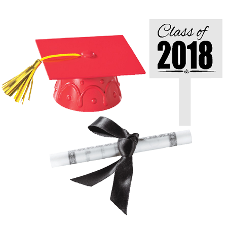 Red Mini Graduation Hat Cake Decoration Topper with Sign and Diploma (Graduation Cakes Ideas)