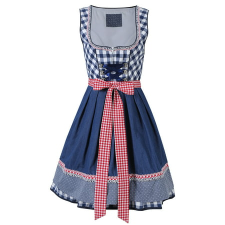 Women's 2 Pcs German Oktoberfest Costumes Dirndl Dress with Apron