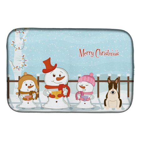 Carolines Treasures BB2467DDM Merry Christmas Carolers Bull Terrier Dark Brindle Dish Drying Mat - image 1 of 1