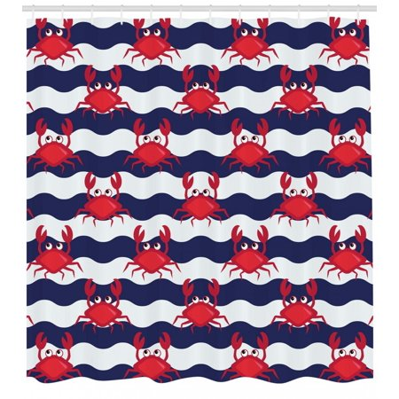Crabs Shower Curtain, Nautical Maritime Theme Cute Crabs on Striped Background Illustration Print, Fabric Bathroom Set with Hooks, Red and Navy Blue, by Ambesonne - Nautical Themed Fabric
