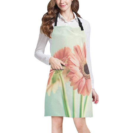 ASHLEIGH Two Pale Pink Daisy Flowers Chef Aprons Professional Kitchen Chef Bib Apron with Pockets Adjustable Neck Strap