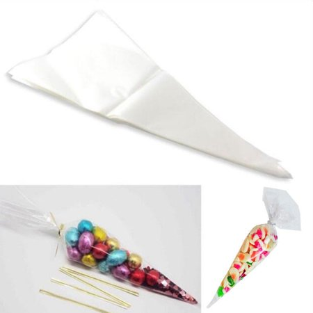 Cone Bags (CUH Cone Cellophane Candy Bags Transparent OPP Triangle Plastic Bag Sealed OPP Bag Sweet Bag for Party Wedding)