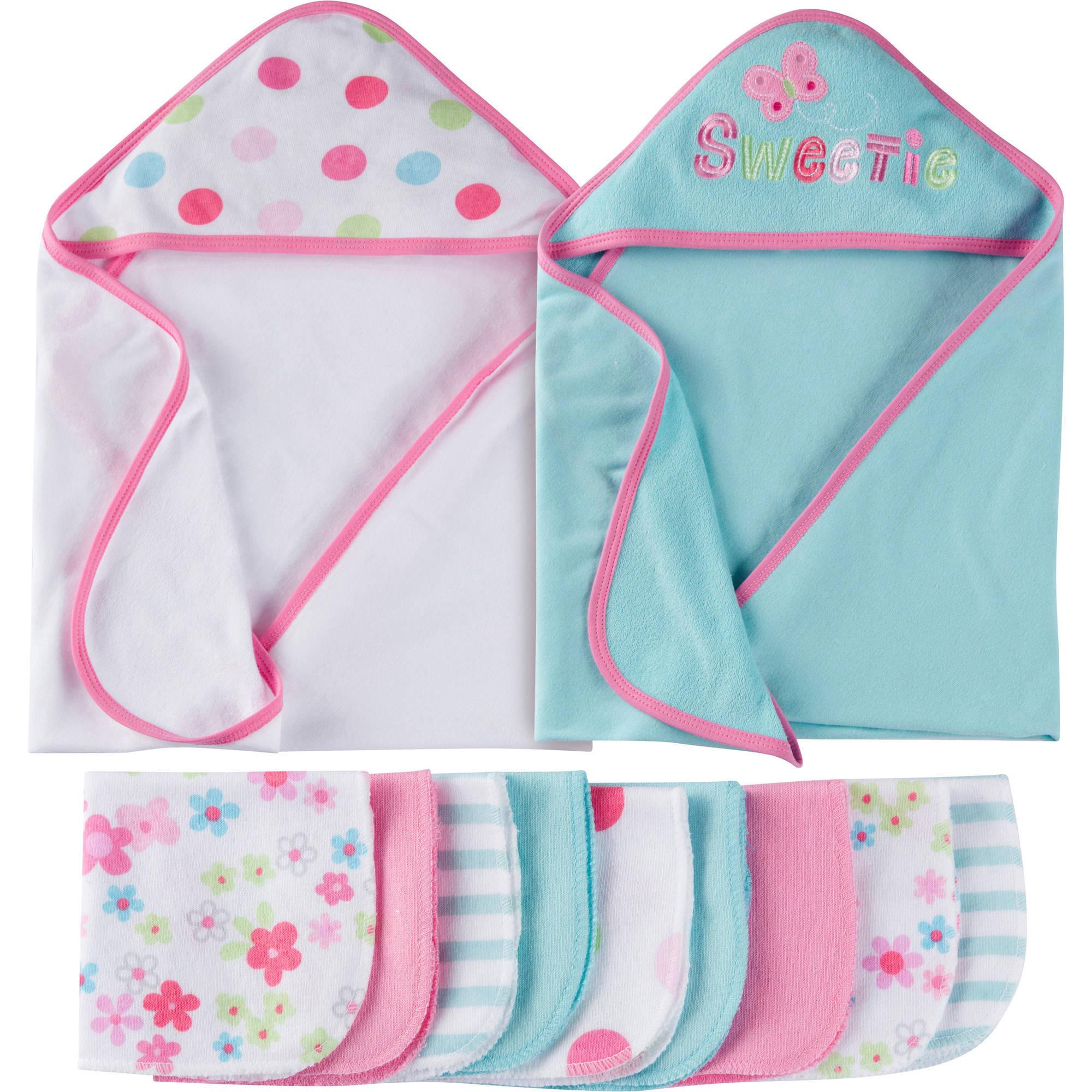 Gerber Newborn Baby Girl Towels and Washcloth Bath Set, 12-Piece by Gerber Childrenswear LLC