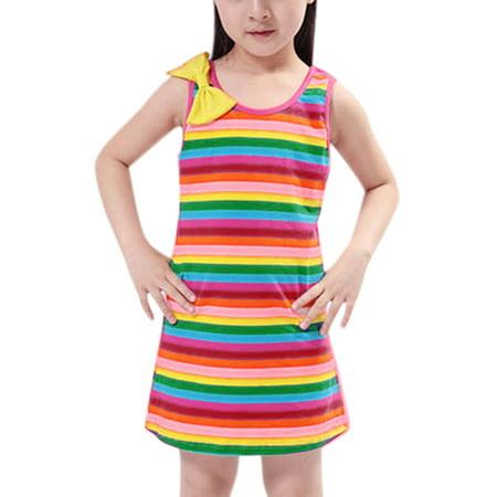 Girl's Stripes Bowknot Decor Upper Tank Dress ids Green Red 2T