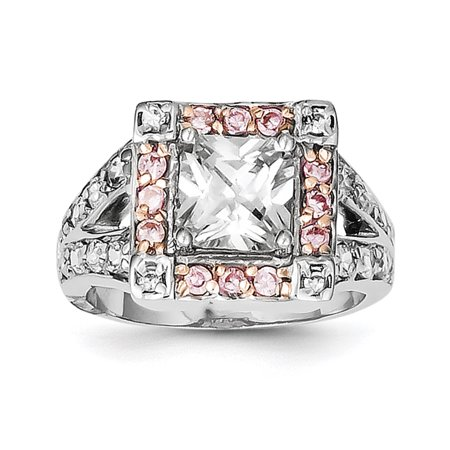 925 Sterling Silver Pink Vermeil Cubic Zirconia Cz Band Ring Size 6.00 Gifts For Women For Her