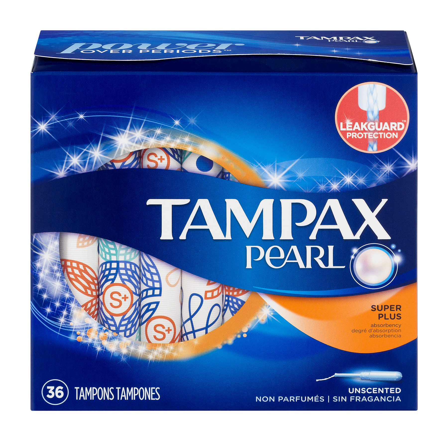 Tampax Pearl Super Plus Plastic Tampons, Unscented, 36 Count