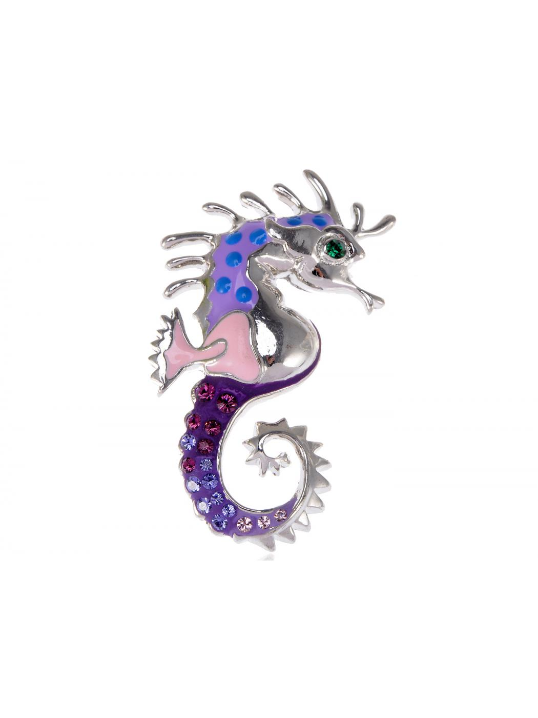 Turquoise Purple Jewel Creature Seahorse Pink Enamel Lovely Pin Brooch by