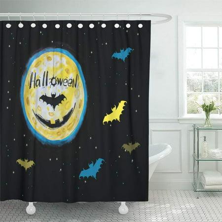 KSADK Black Spider Bat Halloween Watercolor Night Fear Horror Full Moon Shower Curtain Bath Curtain 66x72 inch](Project Fear Halloween Night)