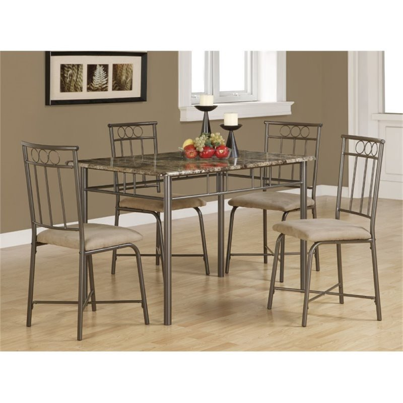 Bowery Hill 5 Piece Dinette Set in Tan and Black