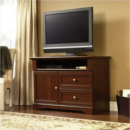 Pemberly Row Highboy TV Stand Select in Cherry Finish (High Modern Cherry)
