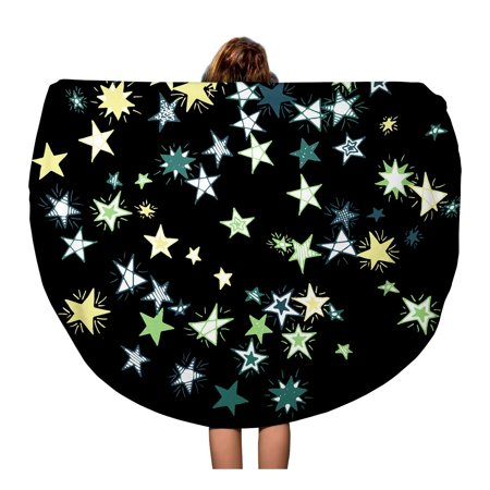 JSDART 60 inch Round Beach Towel Blanket Doodle Stars on Dark Pattern in Primitive Cute Galaxy Travel Circle Circular Towels Mat Tapestry Beach Throw - image 1 of 2
