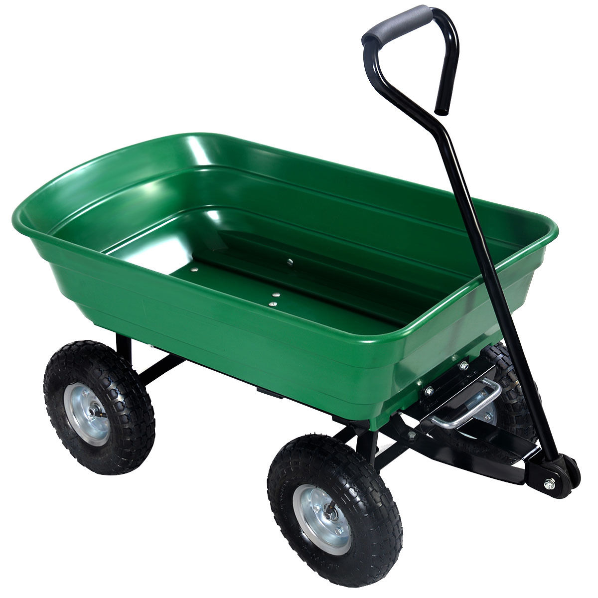 """GHP Outdoor Green 43.75""""Lx20.8""""Wx37.8""""H Poly Bed & Steel Frame Garden Wagon Dump Cart by"""