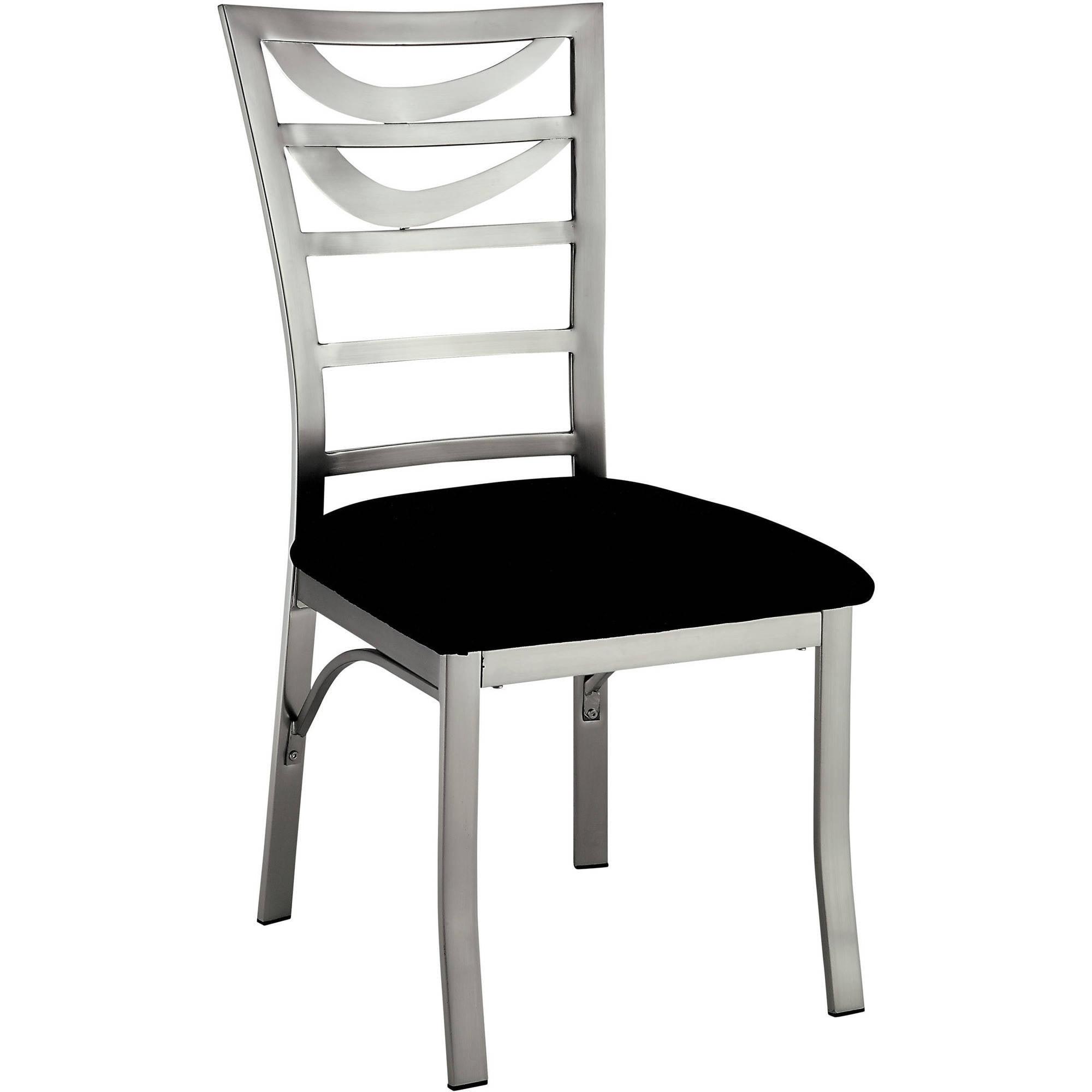 Furniture of America Jacreme Modern Ladder Back Metal Dining Chair, Satin, 2pk by Furniture of America