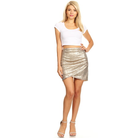 Hot Womens Short Ruched Tulip Hem Body Con Sequin Club Pencil Mini Skirt