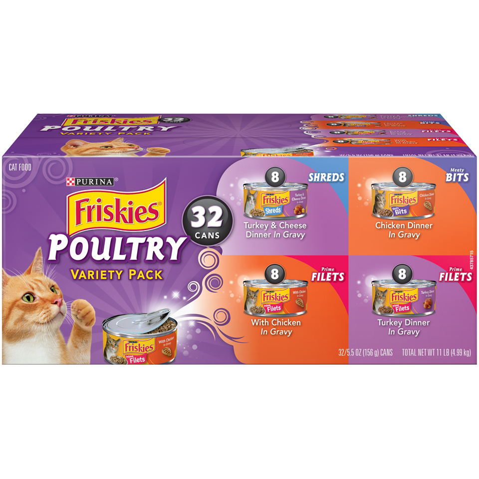 Purina Friskies Poultry Adult Wet Cat Food Variety Pack, 5.5 Oz. Cans (32 Pack)