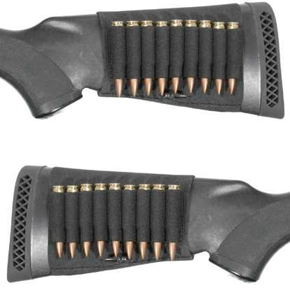 Ultimate Arms Gear 18 Round Rifle Ammo Shot Shell Cartridge Stock Buttstock Slip Over Carrier Holder Fits .243 .270 .30-06 .308 7.62x39mm Ruger American Mini-30 CZ 527 Models Ambidextrous Rifle