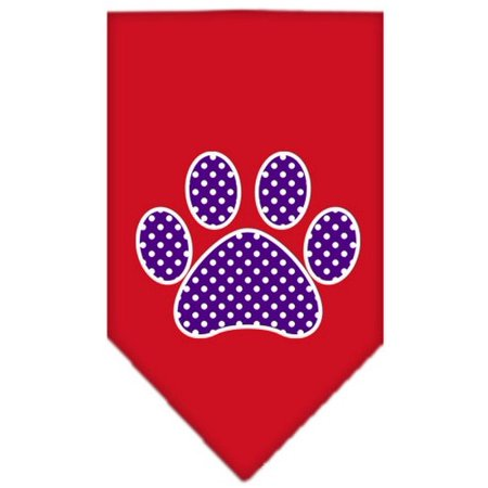 Purple Swiss Dot Paw Screen Print Bandana Red Large Woven Swiss Dot