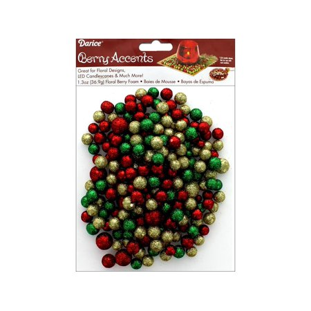 Darice Floral Glitter Foam Beads 1.3oz Red/Grn/Gld - Floral Beads