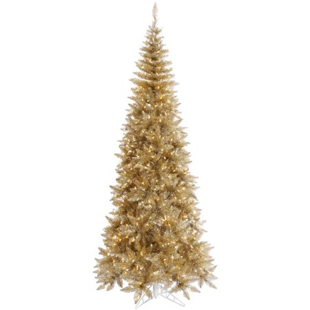 Vickerman 4.5 Tinsel Champagne Fir Artificial Christmas Tree with 200 Clear Lights