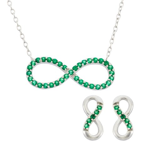 Simulated Emerald Sterling Silver Infinity Necklace and Earrings 2-Piece Set