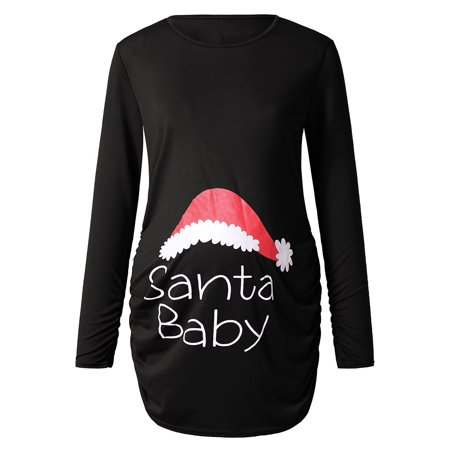 Women's Print Christmas Side Ruched Long Sleeve Maternity Top 2019 hot sales Pregnantcy Clothes ()