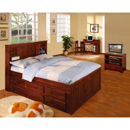 American Furniture Classics Full sized Platform bed with bookcase headboard and six drawers of storage in a merlot