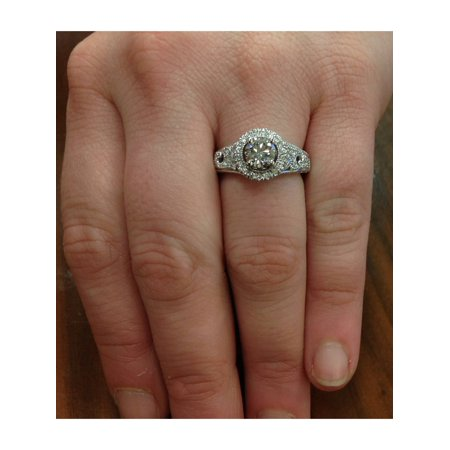 G/VS 1 1/5Ct Engagement Ring 100% Diamond White Gold Halo Solitaire Lab Created - image 3 of 4