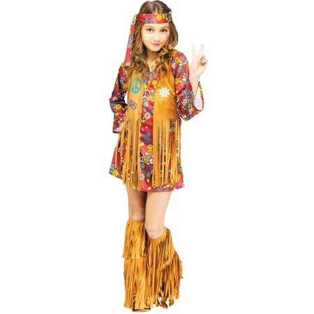 Peace & Love Hippie Kids Costume, This costume includes a dress with attached fringe vest, matching headband, and fringe boot covers. Does not.., By Fun World Costumes (Matching Costumes For Best Friends)