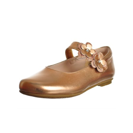Rachel Shoes Girls Rose Gold Patent Flower Applique Mary Jane Shoes (Plum Flower Girl Shoes)