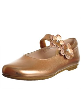80b436772610 Product Image Rachel Shoes Little Girls Rose Gold Patent Flower Mary Jane  Shoes